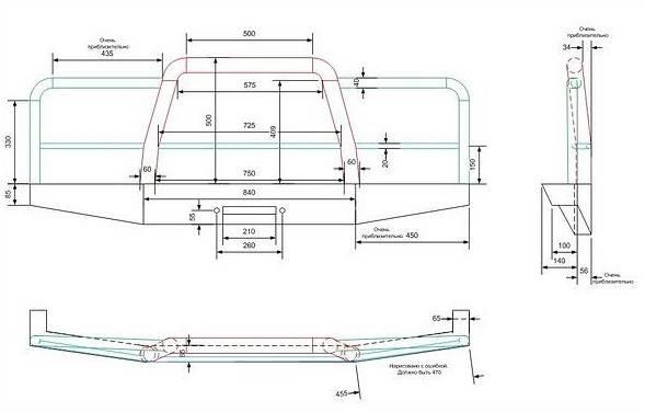 Схема создания бампера на уаз
